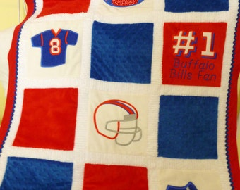 "Appliqued Football Baby Blanket, Minky ""Football Lovers"""