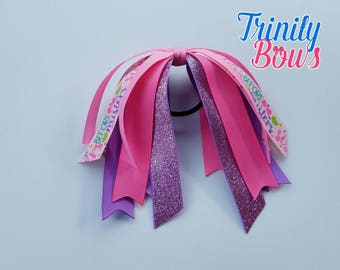 Sisters Before Misters - Ponytail Streamer- Pink - Purple - Glitter - Spring