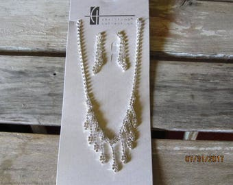Beautiful Christina Collection Rhinestone Crystals Necklace Earrings Perfect for Prom Weddings or Special Ocassions