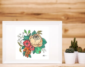 Watercolour Peony Bouquet Artwork