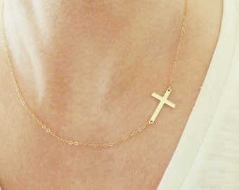 Sideways Cross Necklace + Sideways Cross Choker + Gold Choker + Sterling Silver Sideways Cross Necklace + Sideways Cross Necklace + Choker