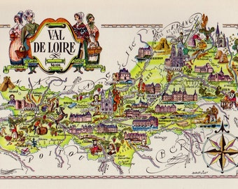 Pictorial FRANCE Map of France Print LOIRE VALLEY Region France Travel Map Gallery Wall Art Gift for Boyfriend Birthday Gift