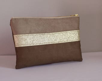 Pouch / clutch, Brown and gold
