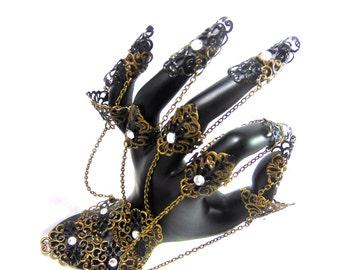 Brassard Griffe armure de vampire bronze couleur black set de 5 bagues dark
