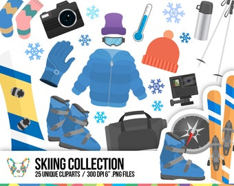 Skiing Cliparts Collection, Winter Clipart, Hobby Clipart, Snowboard Clipart, Sport Clipart, Planner Clipart, Scrapbooking Cliparts