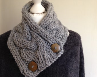 Buttoned Scarf Knitting Pattern