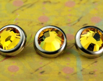 10 Sunflower Crystal Hair Snaps - Round Silver Rim Edition -- Made with Swarovski Crystal Element Rhinestones