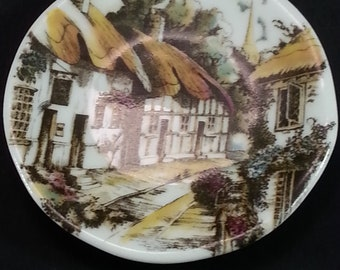 English Village Scene Tiny Plate Collector Vintage Gift Birthday Mothers Day