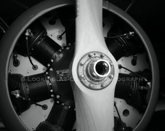 airplane art, propeller, black and white aviation art photo, radial engine, Great Lakes biplane, boys room decor, for him