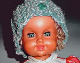 SALE BLUE BONNET Hat child Butterfly  ages 2-6   was 55.00  Aqua Hand spun  Hand knit
