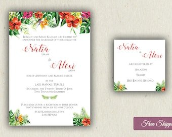 Hawaiian Tropical Wedding Invitation Set Printed