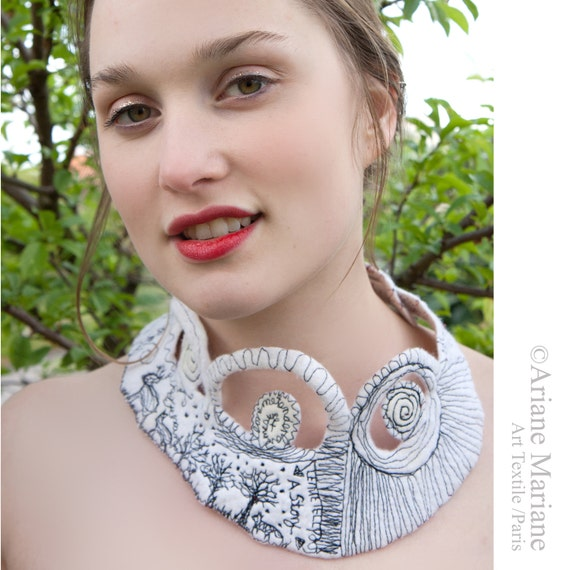 Artist Necklace, Contemporary Textile Jewelry, White Blue Felt Neck Piece, Embroidered Woodland