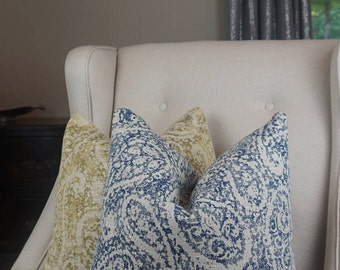 Blue And Tan Paisley Pillow Cover, Blue Paisley Throw Pillow, Blue Decorative  Cushion Cover