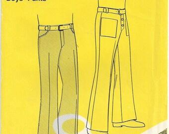 70s Boys/Teens Retro Flared Pants Western/Patch/Welt Pockets Back Yoke Elastic in Waistband Stretch Knit Basic Knits 503 Size 10 12 14 16