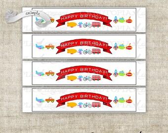 Instant Download - Bottle Label Bottle Wrapper Birthday Cars Trains Planes Automobile Transportation Digital DIY Printable - 207910562