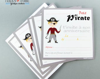 Pirate birthday invitations