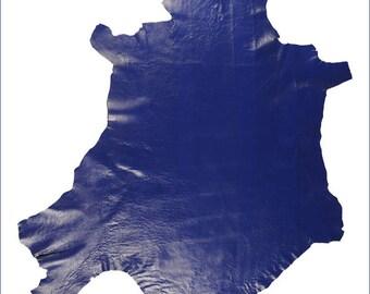 M336-M // Leather Skin of CRISPED SHEEP Blue Hightech - XL //