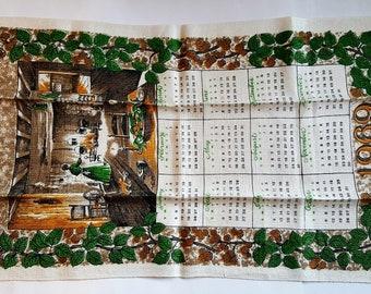 TEA TOWEL / 1969 Calendar / Kitchen Towel / WILLIAMSBURG Kitchen / Dishcloth / Dish Towel / All Linen / Unused Vintage