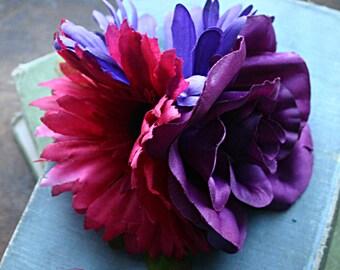Plum Rose Fairy Cluster Fascinator Clip  - Vegan, Tribal, Belly Dance, Wedding, Bridal, Pin Up, Hair Garden, Purple, Raspberry, Daisy, Rose