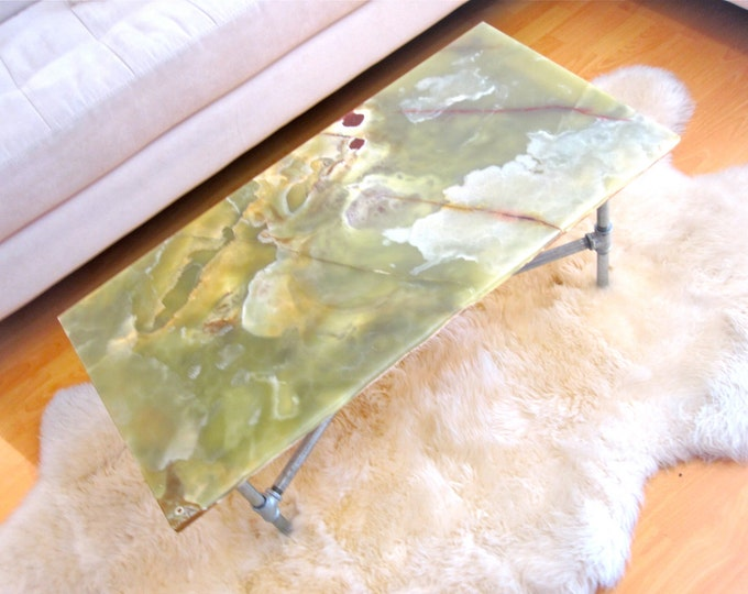 Industrial Glam Green Stone Coffee Table