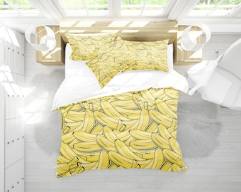 Banana duvet cover , duvet cover , duvet , king duvet cover , modern duvet , queen duvet cover , tropical duvet , banana , bananas