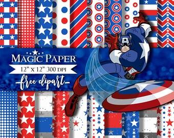 Captain America Digital Paper, Avengers, Digital Papers, Clip art Clipart
