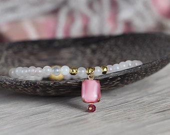 Rose Quartz and Ruby Bracelet - Bohemian Charm Bracelet In Pink and Gold - July Birthstone Bracelet Gift for Her - LAST ONE