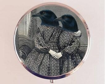 Crow Sisters Pill Box Case Pillbox Holder Trinket Stash Box Anthropomorphic Victorian Altered Art Bird Raven