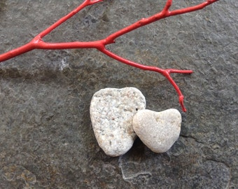 STONE HEARTS...7 natural undrilled beach stones-organic supplies-wedding valentine love rocks