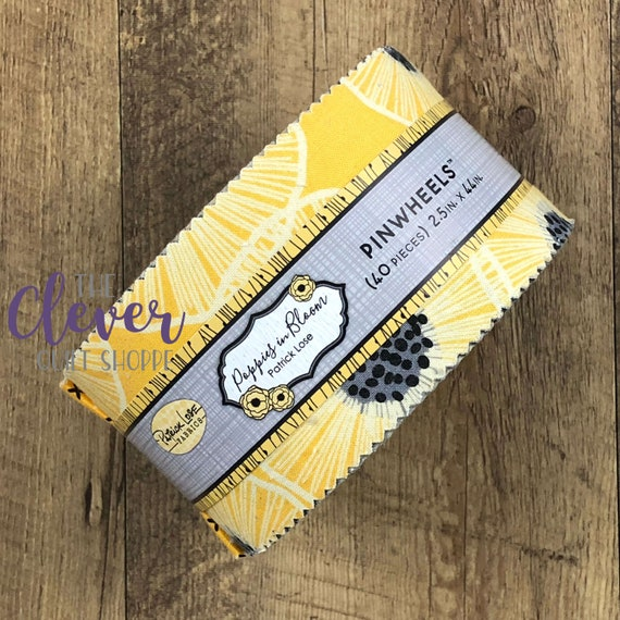 Jelly Roll, Poppies in Bloom, Yellow, Patrick Lose, Black, White, Gray, Geometric, Floral, Dots, Quilting Fabric, Precut Fabric