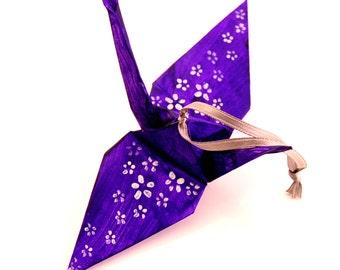 Silver Cherry Blossoms on Deep Grape Purple Origami Crane Ornament, Handpainted