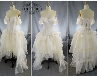 steampunk wedding dress, high low ivory dress is made to measure