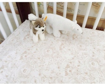 Woodland Baby Bedding -Neutral Changing Pad Cover -Fitted Crib Sheet -Mini Crib Sheet -Bear Crib Bedding -Fox Baby Sheet -Toddler Crib Sheet