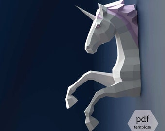 Unicorn Papercraft, 3D Papercraft - Build Your Own Low Poly Paper Sculpture from PDF Download (DIY gift, Wall Decor for home and office)