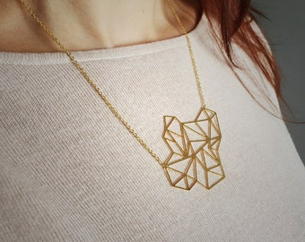 Geometric triangle explosion necklace in silver or gold