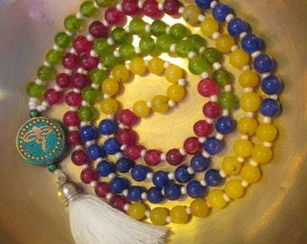 Mala 4 Elementi - 108 Perle - 4 Sacre Direzioni - Meditazione Mantra Yoga - Rosario Buddista