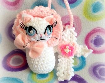 Dolly Cat + Milky Cross ~ Lolita Amigurumi Plush Necklace