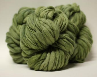 Thick and Thin Yarn Bulky Hand Spun Wool Slub  Hand Dyed tTs(tm) Dungeon Green
