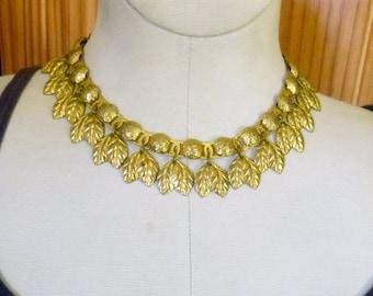 Art Deco Retro goldtone leaf bib choker necklace circa 1940s Egyptian Revival