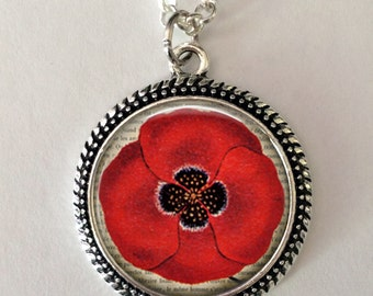 Poppy Flower Necklace, Red poppy, poppy necklace pendant, art pendant, poppy jewelry, flower jewelry