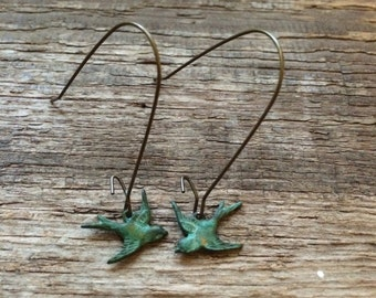 Handmade verdigris patina sparrow dangle Earrings // made in USA // antique brass kidney ear wires //