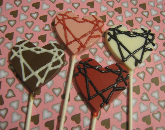 One dozen heart lollipop suckers valentine's wedding anniversary party favors