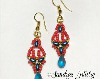 Boucles d'oreilles perles en corail-Blues-or (fait à la main et conçu)