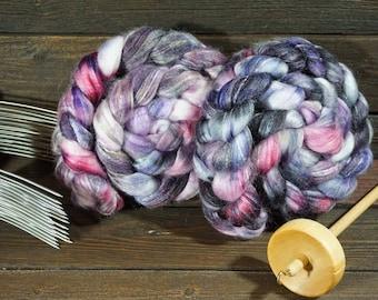 Merino, Bamboo, Nylon, Black, Purple, Pink, Panda, Combed Top, Roving, Spinning, Fiber Arts, Felting, Art Yarn