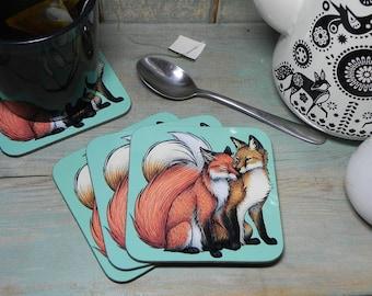 Single (x1) Fox Couple Illustration Coaster