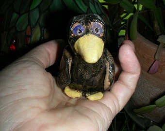 hand sculpted ceramic black bird