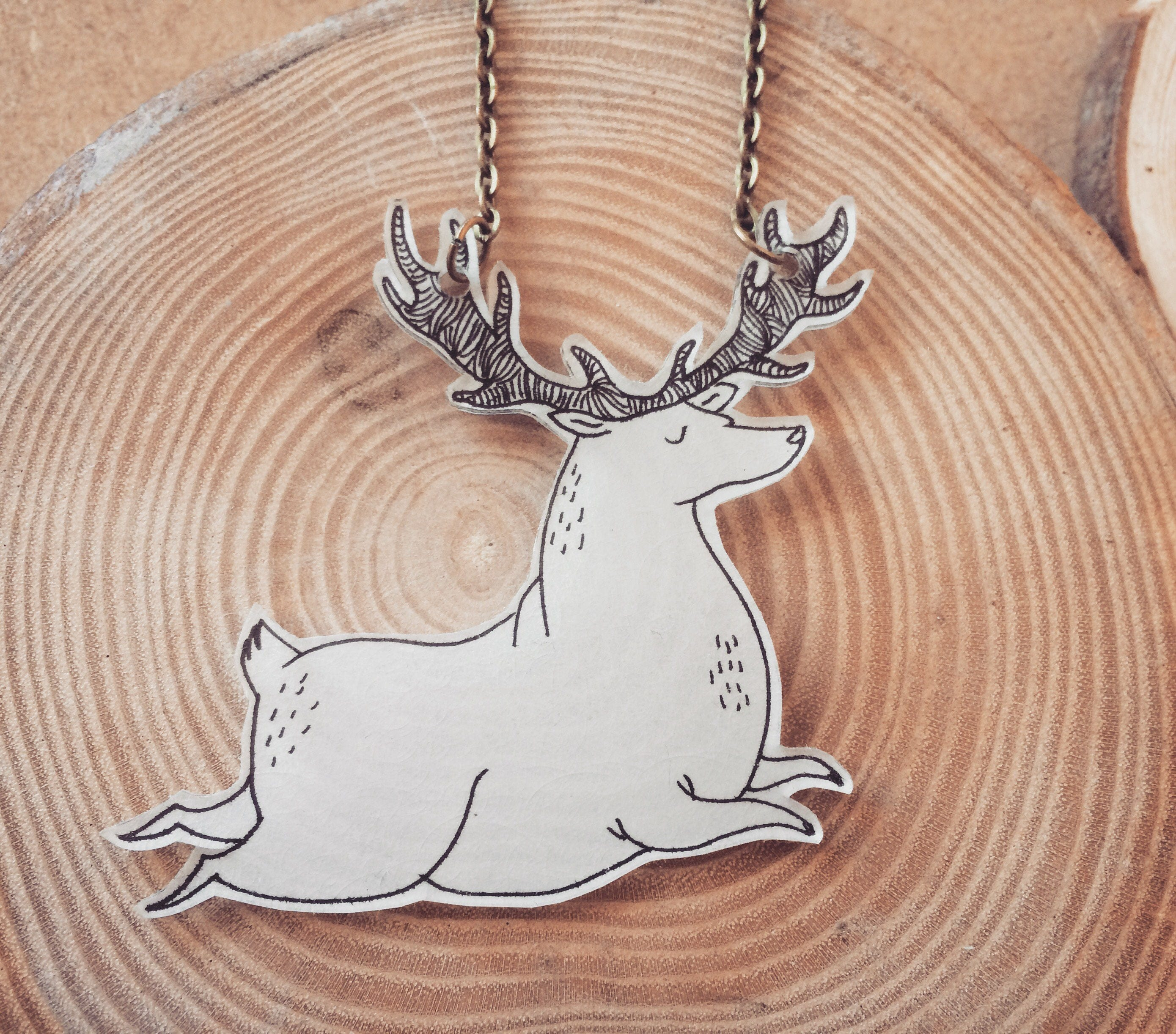 rosa necklace products vila antlers deer silver antler buy animal in gold inspired horn pendant