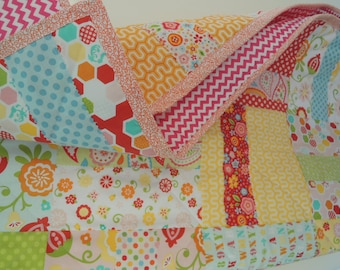 Baby Quilt, Sunshine Sweet Gently Frayed Baby Quilt, Ready to Ship, Personalized