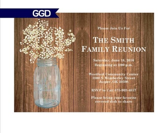 Family Reunion Invitation with Mason Jar, mason jar invitation, family reunion invitation