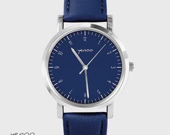 Bracelet Watch - Simple elegance - navy, leather